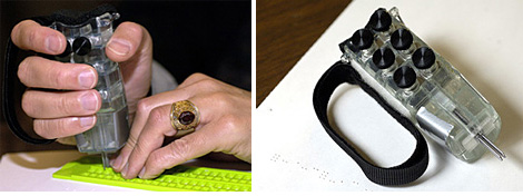Hand-Held Braille Writer (Images courtesy Johns Hopkins University)