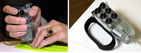 Hand-Held Braille Writer (Images courtesy Johns Hopkins University)
