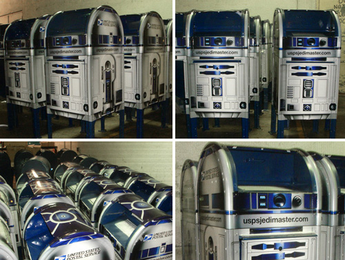 USPS R2-D2 Themed Mailboxes (Images courtesy Nuclear Ferret and TheForce.Net)