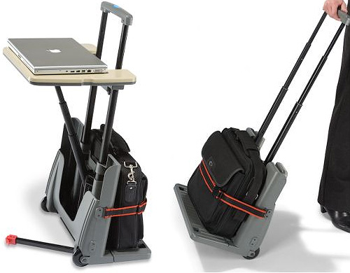 Rolling Luggage Cart And Desk (Image courtesy Hammacher Schlemmer)