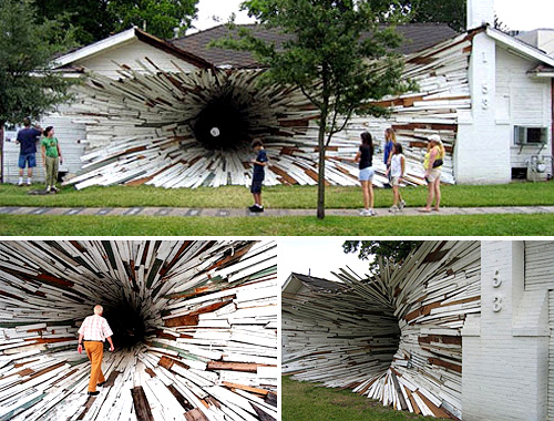 Inversion Tunnel House Art Installation (Images courtesy designverb)