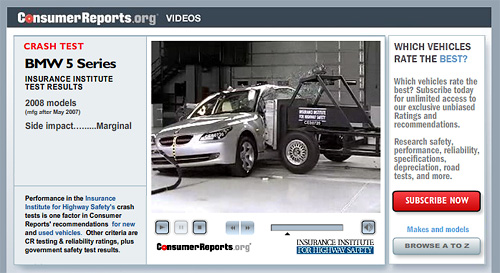 Consumer Reports Crash Test Video Website (Image courtesy Consumer Reports)