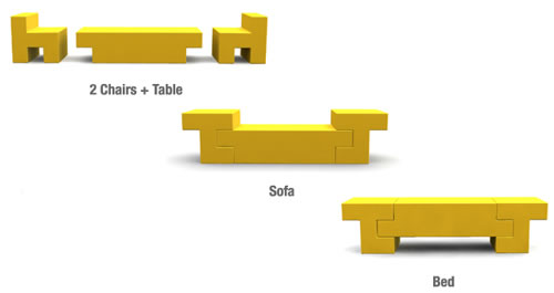 Space efficient furniture from tetris ohgizmo - Table transformable up down ...