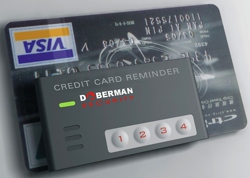 Doberman Security Credit Card Reminder (Image courtesy Doberman Security Products)