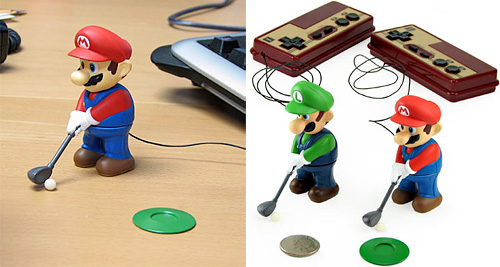 Mini Golfing Mario & Luigi (Images courtesy ThinkGeek)