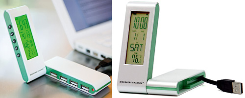 4-Port USB Hub & Alarm Clock (Image courtesy Discovery Channel Store)