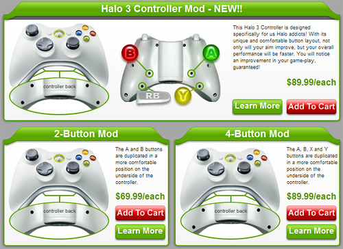 HG XBox 360 Controllers (Image courtesy HG Controllers)
