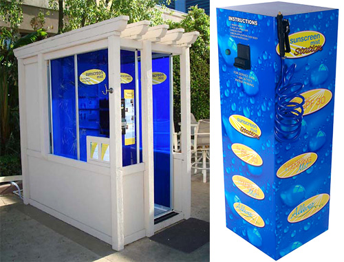Spray-On Sunscreen Booth And Station (Images courtesy Sunscreen Mist)