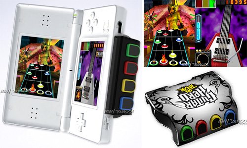 Guitar Hero DS And Accessories (Images courtesy IGN & Yahoo)