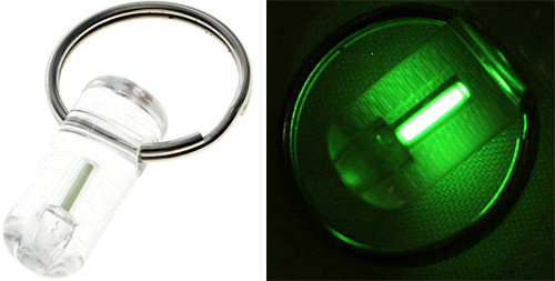 Mini Tritium Glowring Keychain (Images courtesy DealExtreme)