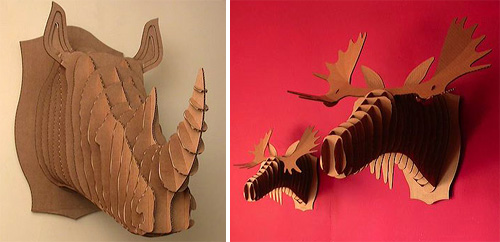 Cardboard Rhino & Moose Busts (Images courtesy Perpetual Kid)