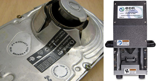 Hard Disk Crusher (Images courtesy EDR Solutions)