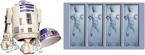Han Solo Frozen in Carbonite Ice Cube Tray with R2-D2 Ice Bucket (Image courtesy The Green Head)