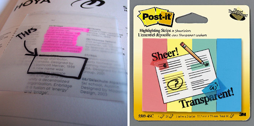Sheer Post-It Notes (Images courtesy 3M & bookofjoe)