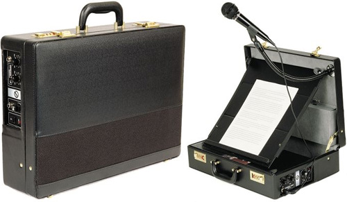 The Orator's Briefcase PA System (Images courtesy Hammacher Schlemmer)
