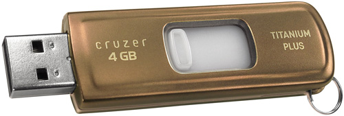 SanDisk Cruzer Titanium Plus 4GB USB Flash Drive (Image courtesy SanDisk)