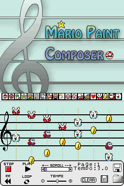 Mario Paint Composer DS (Image courtesy BassAceGold)