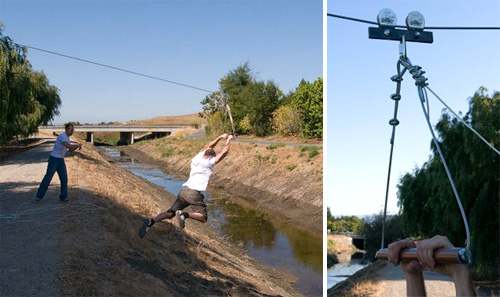 Traveling by zip-line (Images courtesy The Official Google Blog)