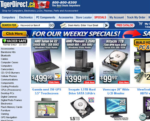 tigerdirect canada screenshot
