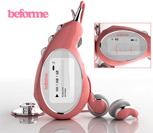 Beforme MP3 Player And Stethoscope (Images courtesy Robert Majkut Design)