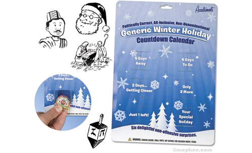 Politically Correct, All-Inclusive, Non-Denominational Generic Winter Holiday Countdown Calendar (Image courtesy Archie McPhee)
