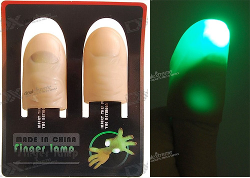 Automatic LED Finger Lamp Flashlights (Images courtesy DealExtreme)