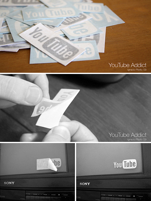 YouTube ADDICT Stickers (Images courtesy Ignacio Pilotto)