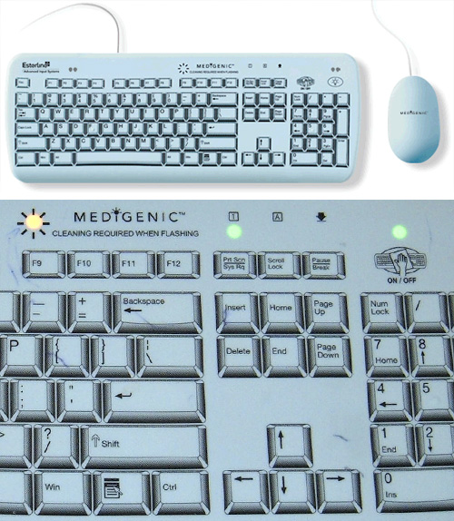 Medigenic Infection-Control Keyboards (Images courtesy Medigenic & Wikimedia)