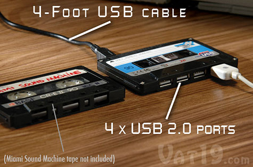 Cassette Tape 4-port USB 2.0 Hub (Image courtesy Vat19)