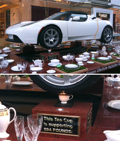 Tesla Roadster On Tea Cups (Images property OhGizmo!)