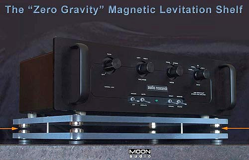 Zero Gravity Magnetic Levitation Audio Shelf (Image courtesy MOON AUDIO)