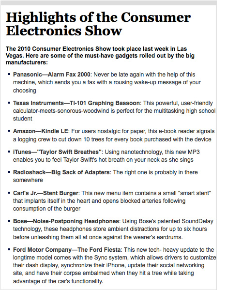 Highlights of the Consumer Electronics Show (Image courtesy The Onion)