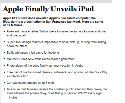 Apple Finally Unveils iPad (Image courtesy The Onion)