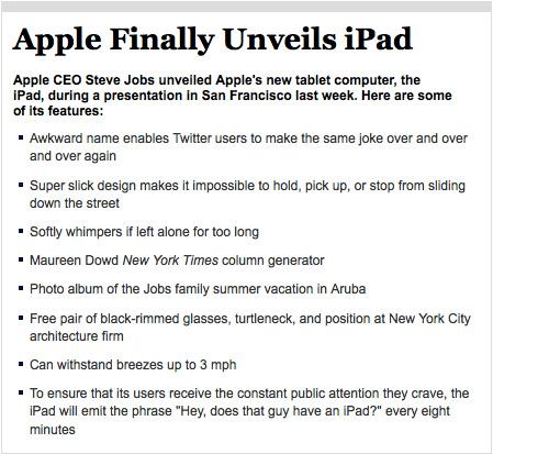 Apple Finally Unveils iPad (Image courtesy The Onion)