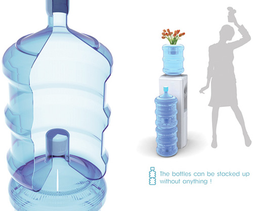 Stackable Water Bottle Concept (Image courtesy Yanko Design)
