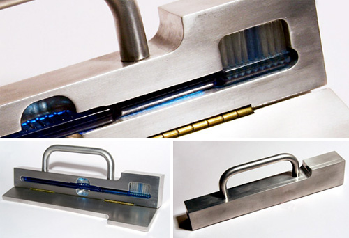 Secure Aluminum Toothbrush Case (Images courtesy Dominic Wilcox)