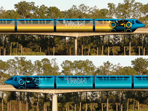 Tron Light Cycle Monorails (Images courtesy Sci Fi Wire)