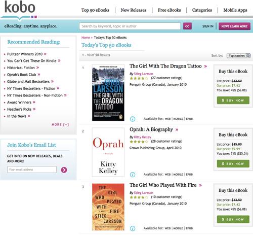 Kobo Online Store (Image property OhGizmo!)