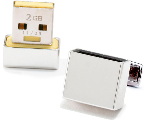 2GB Ravi Ratan Flash Drive Cufflinks (Image courtesy CuffLinks.com)