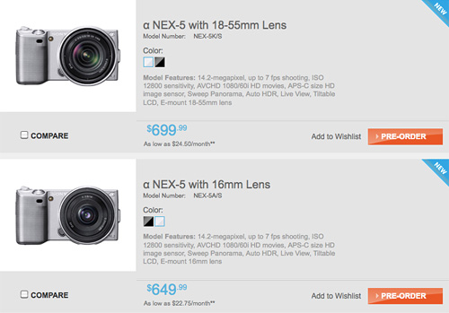 Sony NEX-5 Pricing (Image courtesy Sony)