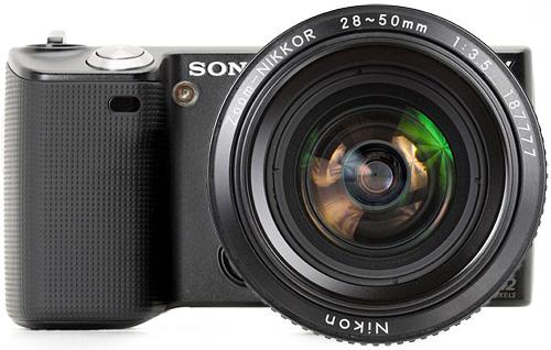 Sony NEX-5 + Nikon Lens (Images courtesy Sony & KenRockwell.com)