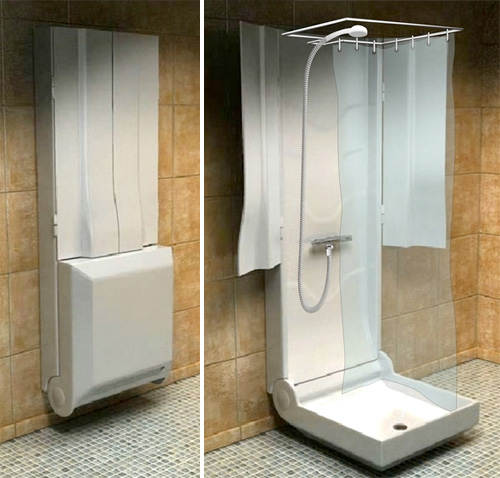 Folding shower lets everyone in the house have their own Very small bathroom designs with shower only