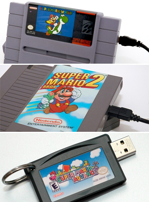 NES, SNES & GBA Cart Hard Drives & Flash Drives (Images courtesy 8-Bit Memory)
