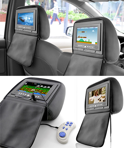 7 Inch Headrest DVD Player with Emulator + FM Transmitter (Images courtesy Chinavasion)