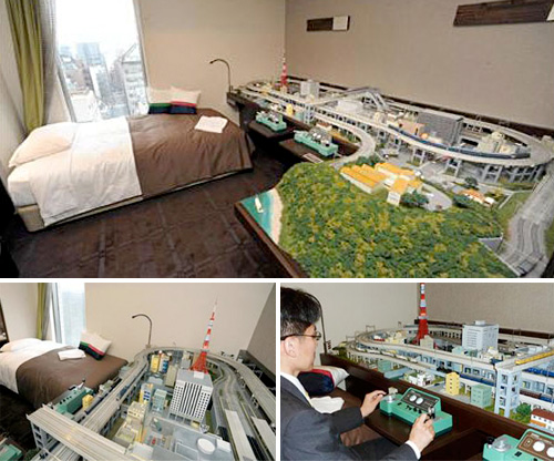 Hotel Room with Model Railroad (Images courtesy Japan Trends)