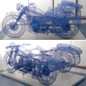 Move Over Wireframe Lamborghini, You've Just Been Trumped By This Wireframe Motorcycle With Sidecar