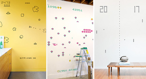 Atari Asteroids, Centipede And Pong Wall Decals (Images courtesy ThinkGeek)