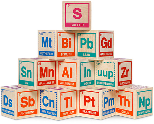 Periodic Table Building Blocks (Image courtesy ThinkGeek)