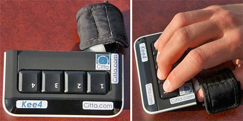 Kee4 One Handed Keyboard (Images courtesy Citta Consulting Inc.)