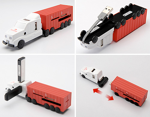 USB Hub/Flash Card Readin' Tractor Trailer (Images courtesy Sanwa Direct)